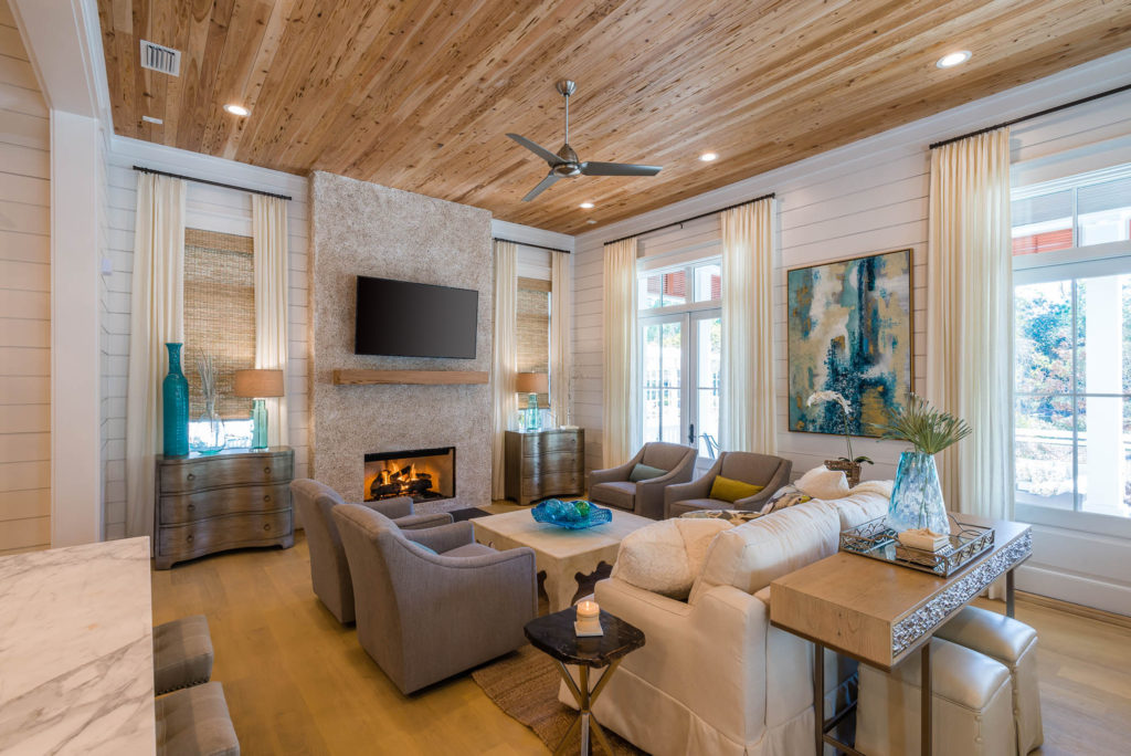 Coastal Living Room with Shiplap